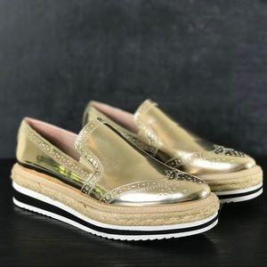 NEW Zara Gold Slip On Platform Espadrille Loafers
